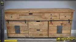 Grand buffet rustique industriel en bois et métal 7 tiroirs 2 portes 179 cm