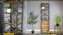 Etagère verticale bibliothèque de style industriel en bois et métal 198 cm