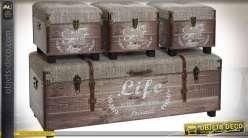 Banquette coffre avec 3 poufs bois vieilli et toile épaisse écrue 120 cm