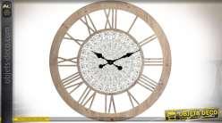 Horloge en bois et métal chiffres romains motifs mandalas relief Ø 80 cm