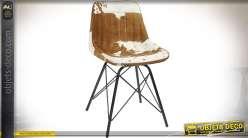 Chaise en métal noir et cuir peau de vache marron et blanc 78 cm