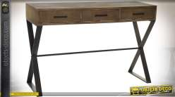 Console contemporaine en sapin vieilli et métal noir avec 3 tiroirs 120 cm