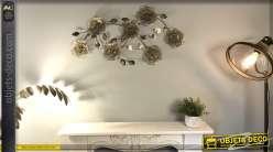 Décoration murale en métal grandes fleurs dorées précieuses effet résille 100 cm