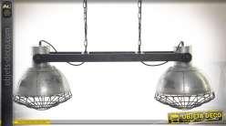 Suspension à 2 projecteurs en métal argenté vieilli style industriel rétro 110 cm