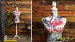 Buste mannequin décoratif en bois et tissu, motifs de flamands roses 168 cm