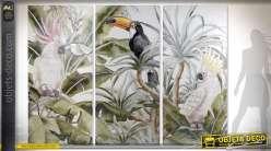 Tableau géant triptyque 2,70 m x 1,90 m sur toile faune et perroquets