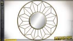 Miroir circulaire avec encadrement étroilé en métal doré Ø 35 cm