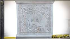 Buffet bas en manguier massif sculptures éléphant patine blanche vieillie 93 cm