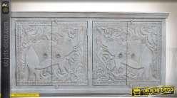 Buffet bas 4 portes manguier sculpté blanc thème éléphants 180 cm