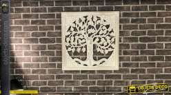 Fresque murale en manguier sculpté blanc vieilli : arbre de vie 60 x 60 cm