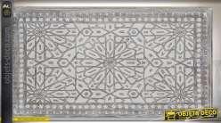 Tête de lit en manguier et mdf motifs ethniques sculptés gris vieilli 160 cm