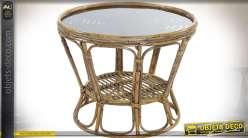 Table basse ronde en rotin naturel plateau circulaire en verre Ø 60 cm