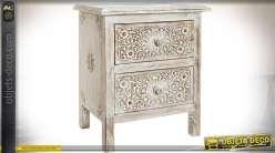 Table de chevet rustique et rétro à 2 tiroirs en manguier sculpté 54 cm