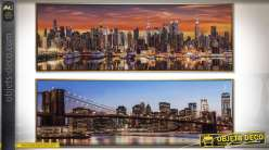 Duo de tableaux Skyline new-yorkaises avec encadrement doré 122 x 42 cm