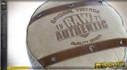 Grand pouf cylindrique en toile de coton et cuir style rétro US Ø 47 cm