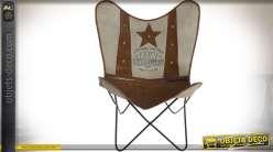 Lot de 2 fauteuils papillons toile coton écrue et cuir style vintage US 96 cm