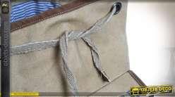 Sac à dos en coton épais écru et cuir style vintage US 44 cm