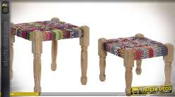 Série de deux repose-pieds gigognes manguier habillage chindi 42 cm