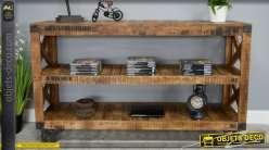 Console industrielle rétro à 3 plateaux en bois et métal sur roulettes 153 cm