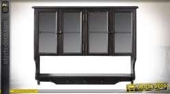 Etagère en bois avec portes vitrées et patères, couleur noir mate et reflets dorés