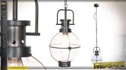Suspension en metal et globe de verre, effet oxydé style vintage rétro