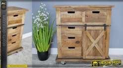 Meuble de rangement en bois et métal, style industriel, 5 tiroirs et porte coulissante