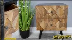 Table de chevet en bois de manguier et métal noir, style rustico-indus 2 tiroirs