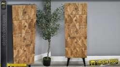 Meuble haut en bois de manguier et métal noir, 5 tiroirs de style industriel
