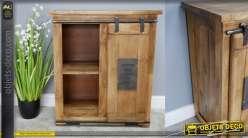 Meuble en bois de manguier avec porte montée sur coulisse en metal effet oxydé