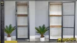 Meuble colonne de rangement de style industriel en métal avec porte
