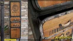 Meuble d'appoint en métal finition usée et bois de sapin, de style industriel 2 portes et 2 tiroirs