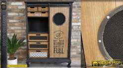 Meuble d'appoint de style industriel avec piétement en pattes de lion, bois de sapin finition noir mat