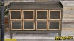 Meuble d'appoint bas en métal de style industriel, deux portes vitrées bois naturel