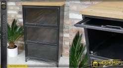 Meuble de rangement en métal, plateau en bois de sapin et  3 portes vitrées