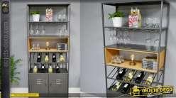 Meuble de salon type cave, deux portes métaliques et espace à verres