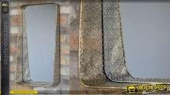 Miroir rectangulaire en métal finition vieux doré, encadrement moucharabieh