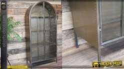 Vitrine en métal inspiration ancienne serre, 2 portes et 4 rangements