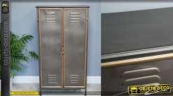 Meuble de rangement en métal, 2 portes style vestaire encadrées doré