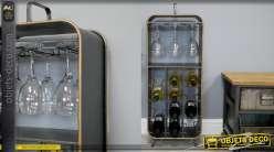 Meuble cave d'appoint pour rangement de bouteilles et suspension des verres