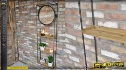 Rangement mural en bois de sapin et métal, 3 niveaux et miroir circulaire