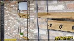 Rangement mural en bois et métal, tablettes et crochets avec miroir en partie haute