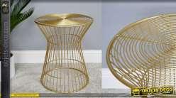 Table d'appoint en métal doré style contemporain -La cage dorée- 38cm