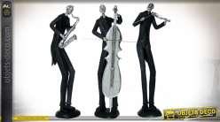 Statuette stylisée en résine noir et argent : le saxophoniste 47 cm
