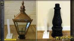Lanterne vitrée en cuivre avec socle