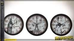 Série de 3 horloges de style vintage : Londres, Paris, New-York