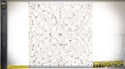 Série de 4 panneaux décoratifs en bois sculpté patine blanche vieillie 30 x 30 cm