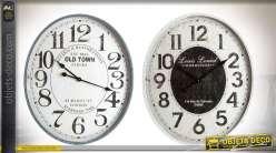 Duo d'horloges murales ovales de style rétro en bois et métal 70 cm