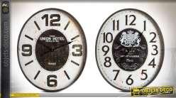 Série de 2 horloges rétro noir et blanc ovales en métal de style rétro 70 cm