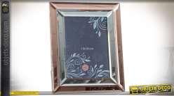 Cadre photo en verre, finition double encadrement en miroir argenté et cuivré