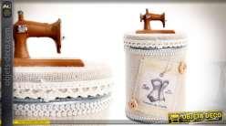 Pot décoratif métal rétro avec habillage tissu thème boîte à couture 17 cm